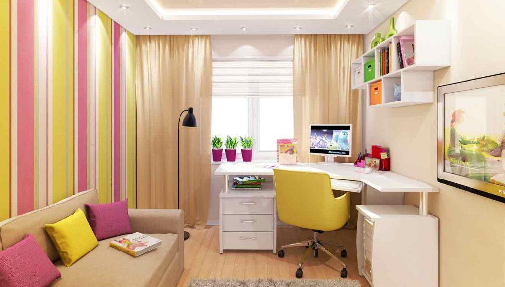 Стол письменный для школьницы в домашнем интерьере
