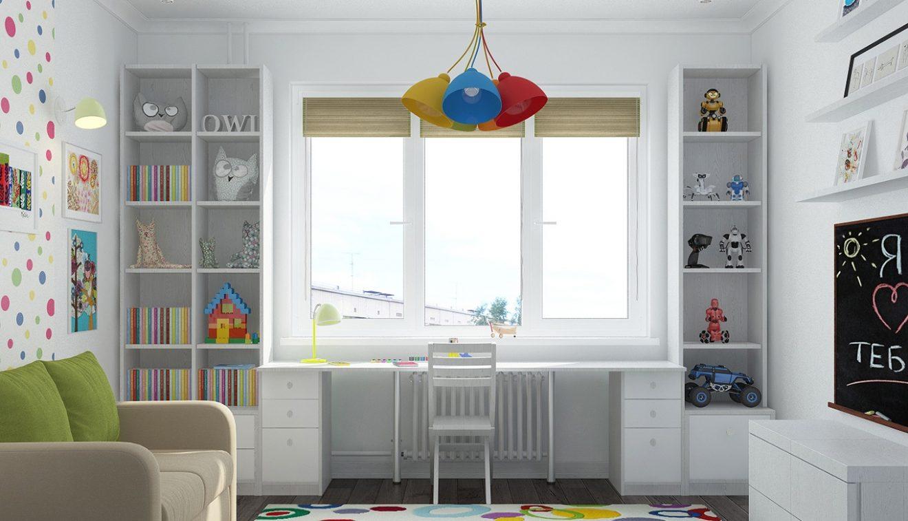 письменный стол в детской у окна