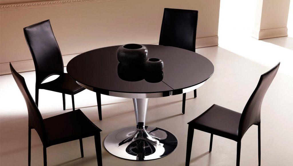 Круглый обеденный раздвижной стол на одной ножке