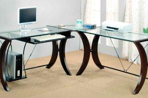 Стеклянный угловой компьютерный стол