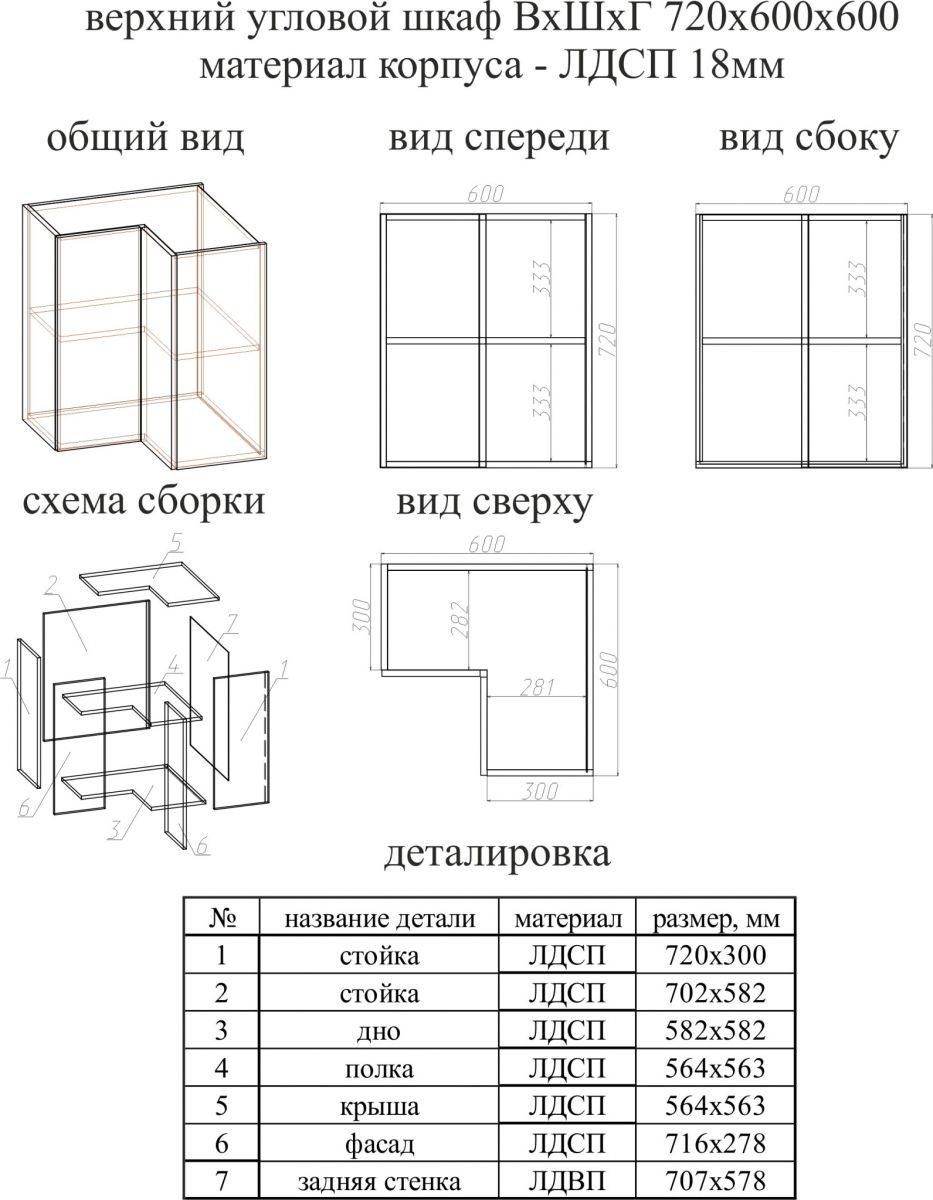 Деталировка верхних шкафчиков